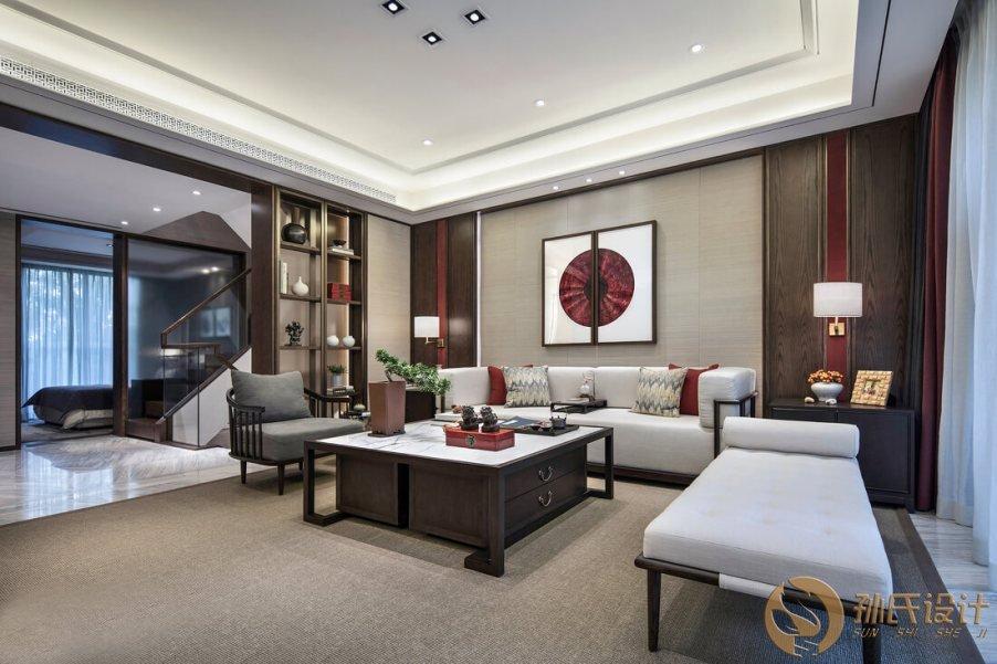 2018现代中式照明高档别墅室内风格设计方案中式装修隔断设计图片